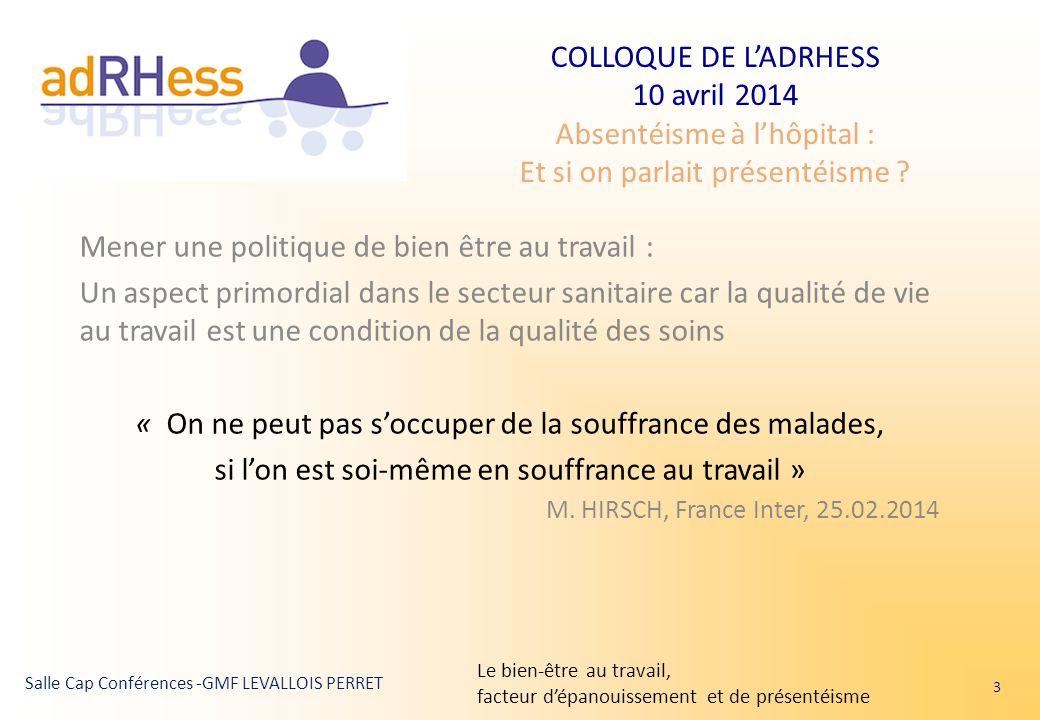 COLLOQUE DE L'ADRHESS 10 avril 2014 Absentéisme à l'hôpital : Et si on parlait présentéisme ? Salle Cap Conférences -GMF LEVALLOIS PERRET Mener une po