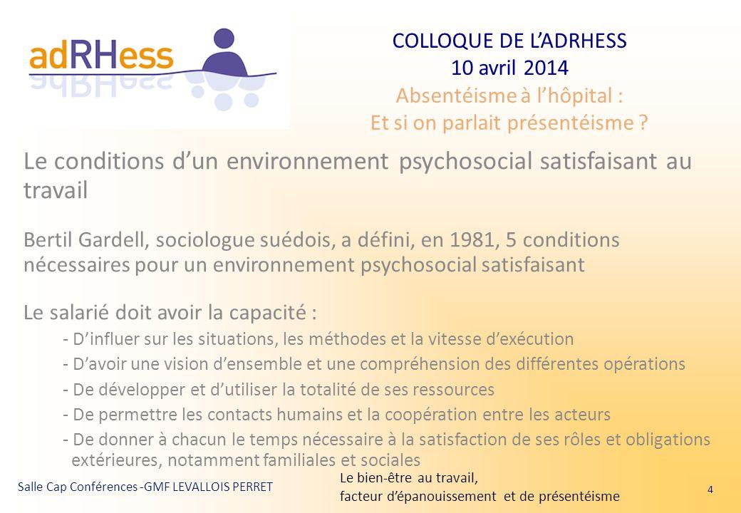COLLOQUE DE L'ADRHESS 10 avril 2014 Absentéisme à l'hôpital : Et si on parlait présentéisme ? Salle Cap Conférences -GMF LEVALLOIS PERRET Le condition