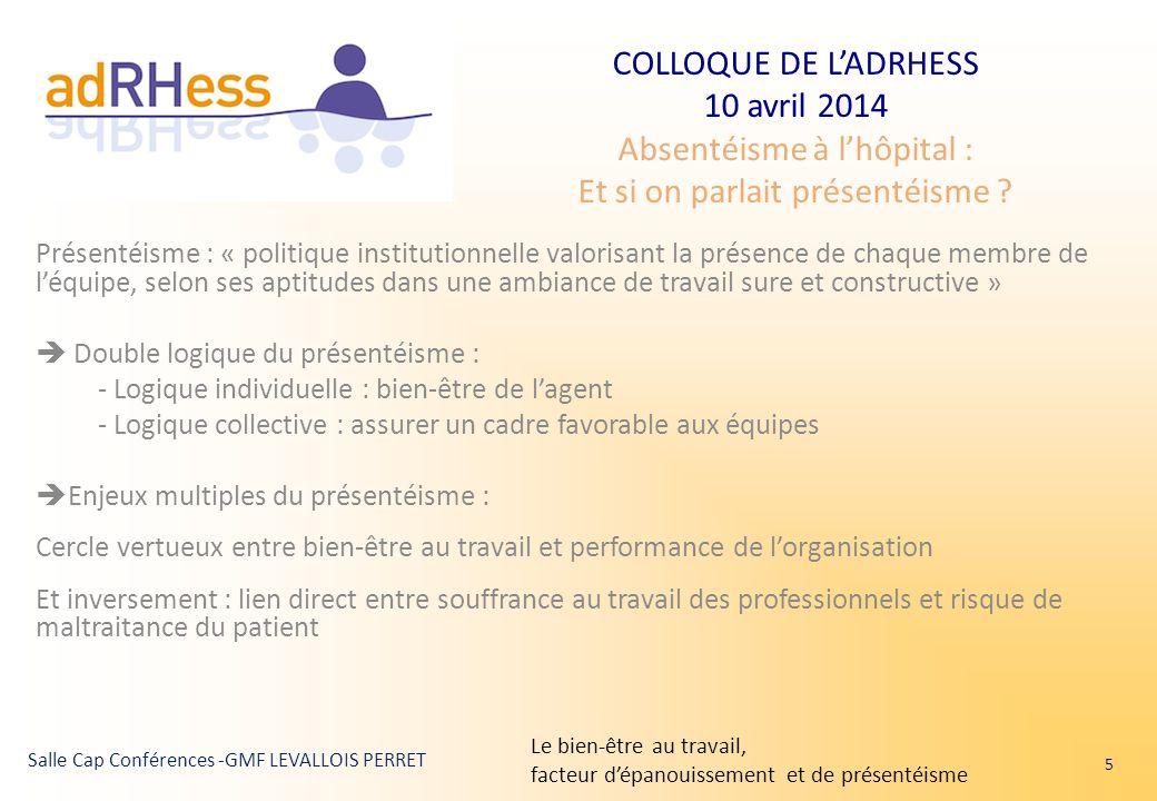 COLLOQUE DE L'ADRHESS 10 avril 2014 Absentéisme à l'hôpital : Et si on parlait présentéisme ? Salle Cap Conférences -GMF LEVALLOIS PERRET Présentéisme