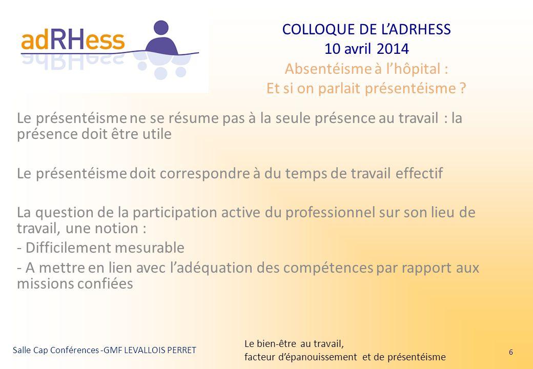COLLOQUE DE L'ADRHESS 10 avril 2014 Absentéisme à l'hôpital : Et si on parlait présentéisme ? Salle Cap Conférences -GMF LEVALLOIS PERRET Le présentéi