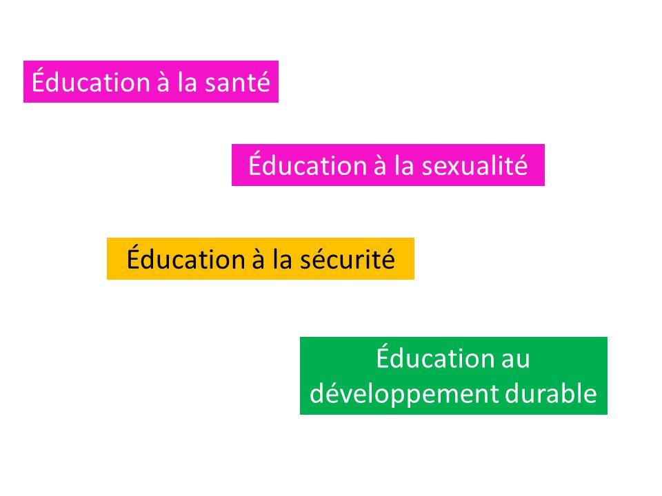 Éducation à la sexualité Éducation à la santé Éducation à la sécurité Éducation au développement durable