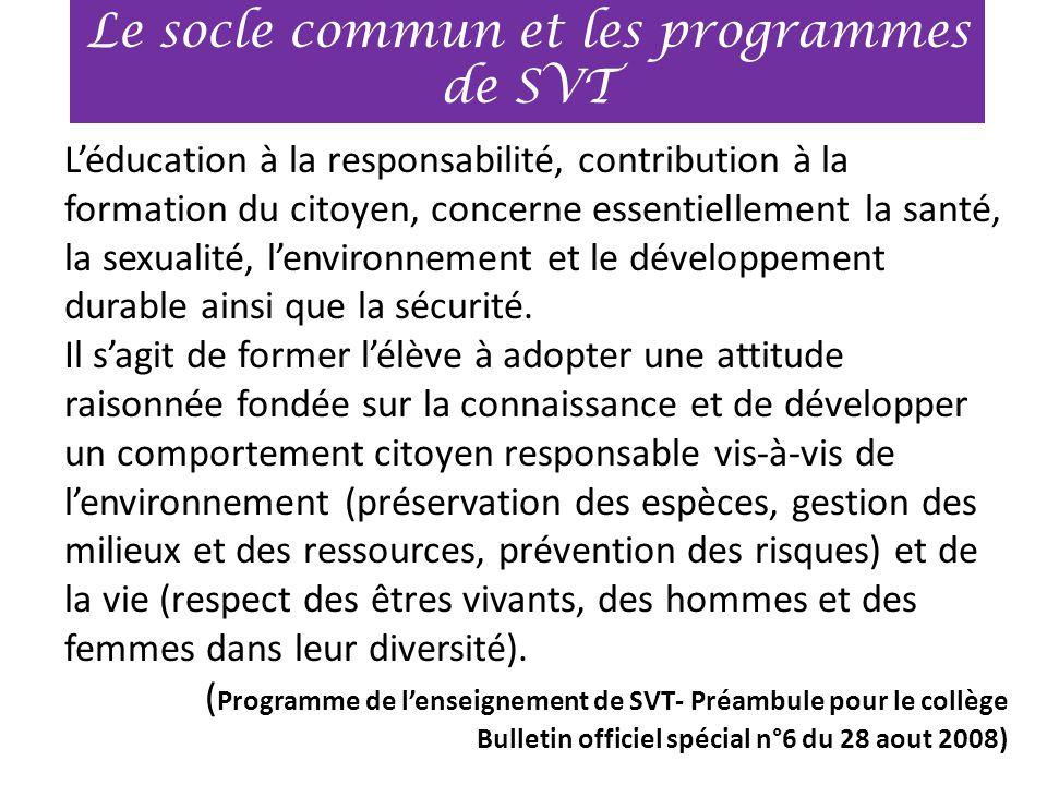 L'éducation à la responsabilité, contribution à la formation du citoyen, concerne essentiellement la santé, la sexualité, l'environnement et le dévelo