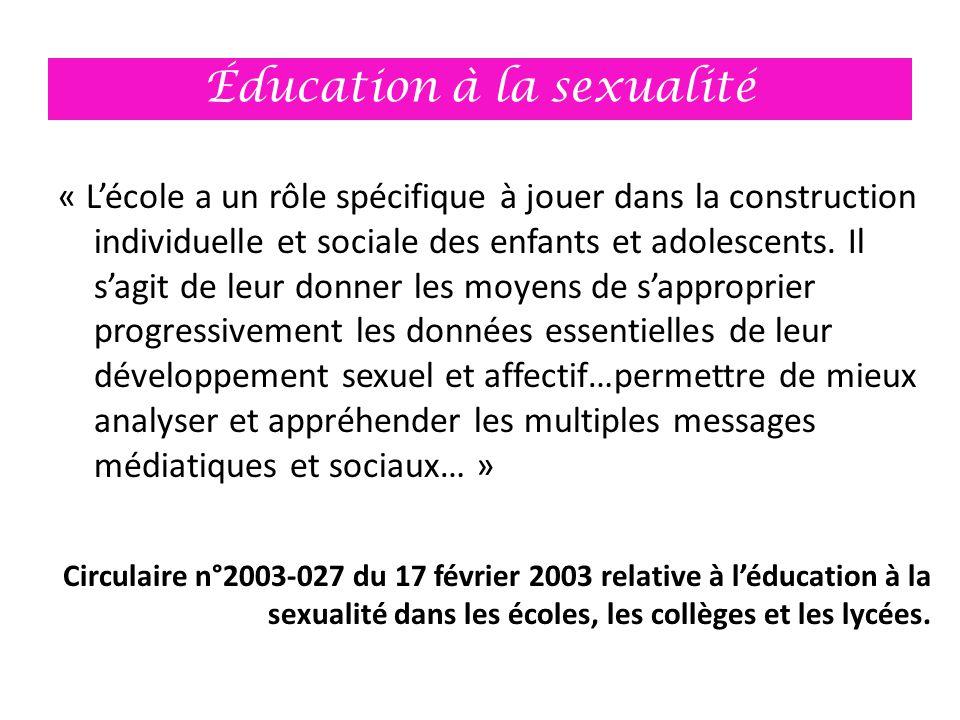 Éducation à la sexualité « L'école a un rôle spécifique à jouer dans la construction individuelle et sociale des enfants et adolescents. Il s'agit de