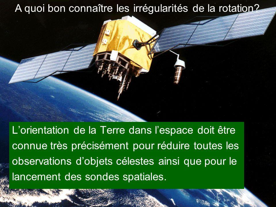 L'orientation de la Terre dans l'espace doit être connue très précisément pour réduire toutes les observations d'objets célestes ainsi que pour le lan
