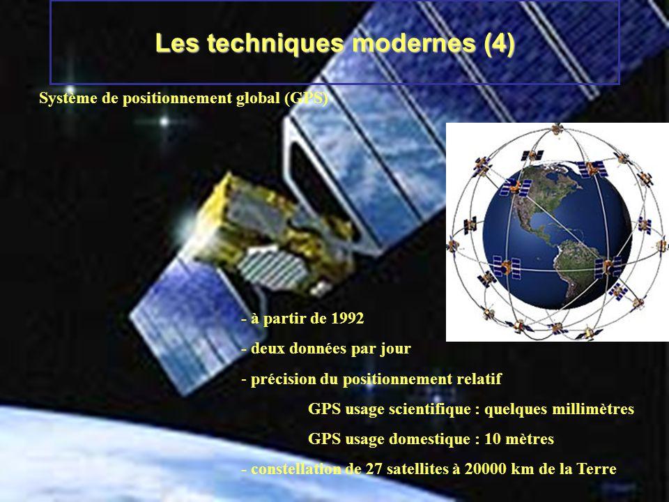 Les techniques modernes (4) Système de positionnement global (GPS) - à partir de 1992 - deux données par jour - précision du positionnement relatif GP