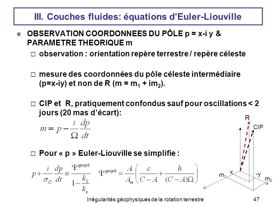 Irrégularités géophysiques de la rotation terrestre47 III. Couches fluides: équations d'Euler-Liouville  OBSERVATION COORDONNEES DU PÔLE p = x-i y &