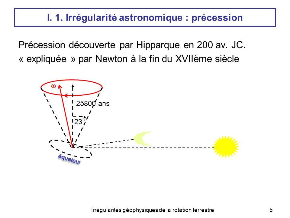 Précession découverte par Hipparque en 200 av. JC. « expliquée » par Newton à la fin du XVIIème siècle  Irrégularités géophysiques de la rotation ter