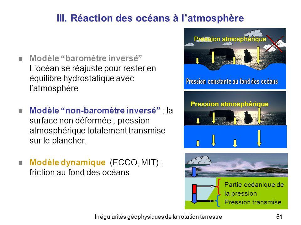 """Irrégularités géophysiques de la rotation terrestre51 III. Réaction des océans à l'atmosphère  Modèle """"baromètre inversé"""" L'océan se réajuste pour re"""