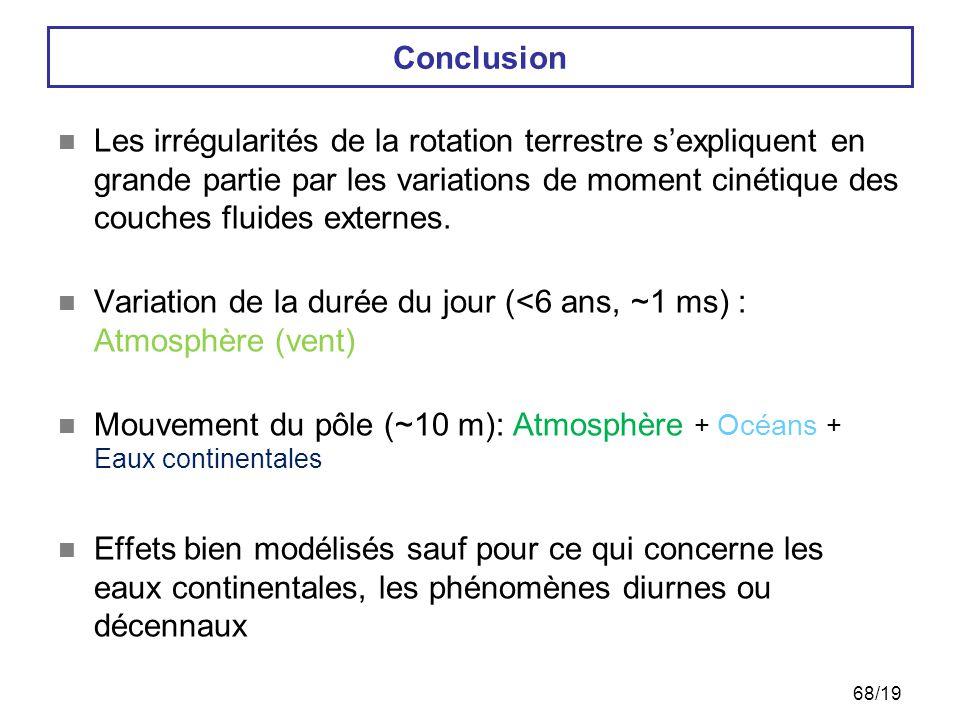 68/19 Conclusion  Les irrégularités de la rotation terrestre s'expliquent en grande partie par les variations de moment cinétique des couches fluides