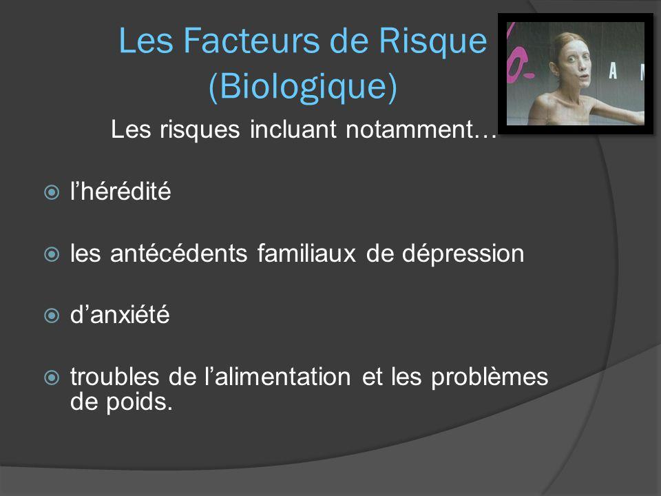 Les Facteurs de Risque (Biologique) Les risques incluant notamment…  l'hérédité  les antécédents familiaux de dépression  d'anxiété  troubles de l'alimentation et les problèmes de poids.