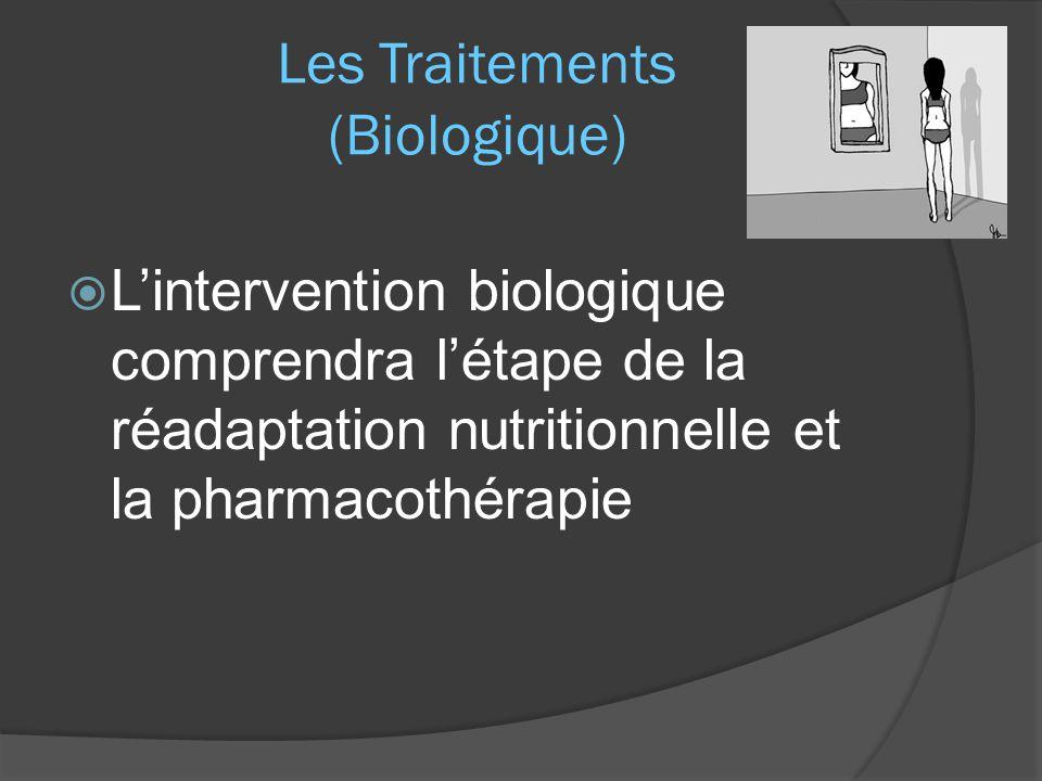 Les Traitements (Biologique)  L'intervention biologique comprendra l'étape de la réadaptation nutritionnelle et la pharmacothérapie
