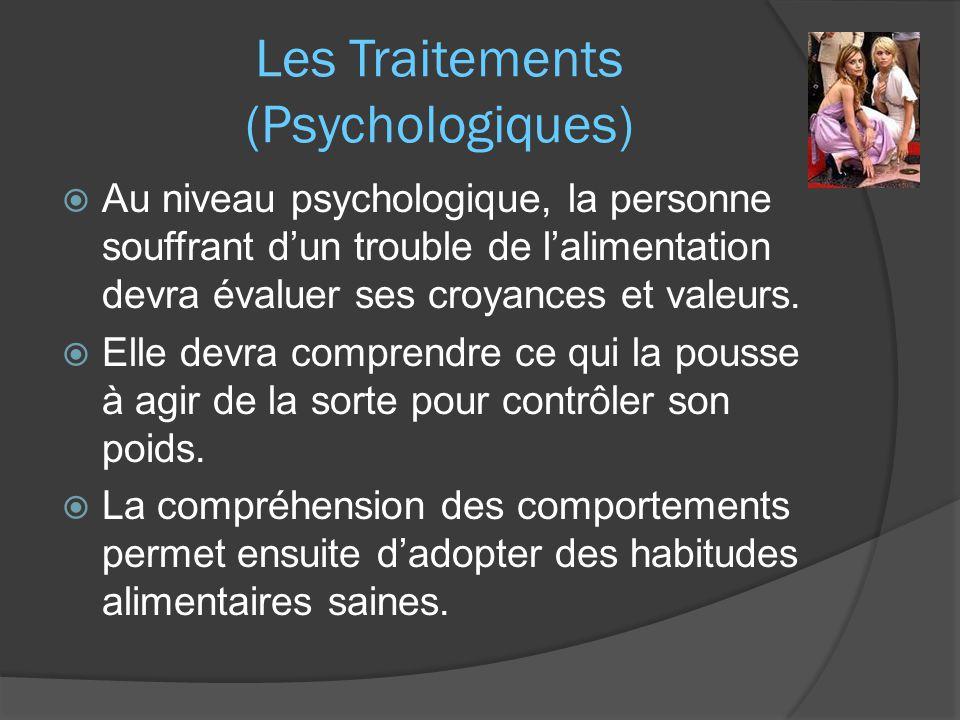 Les Traitements (Psychologiques)  Au niveau psychologique, la personne souffrant d'un trouble de l'alimentation devra évaluer ses croyances et valeurs.