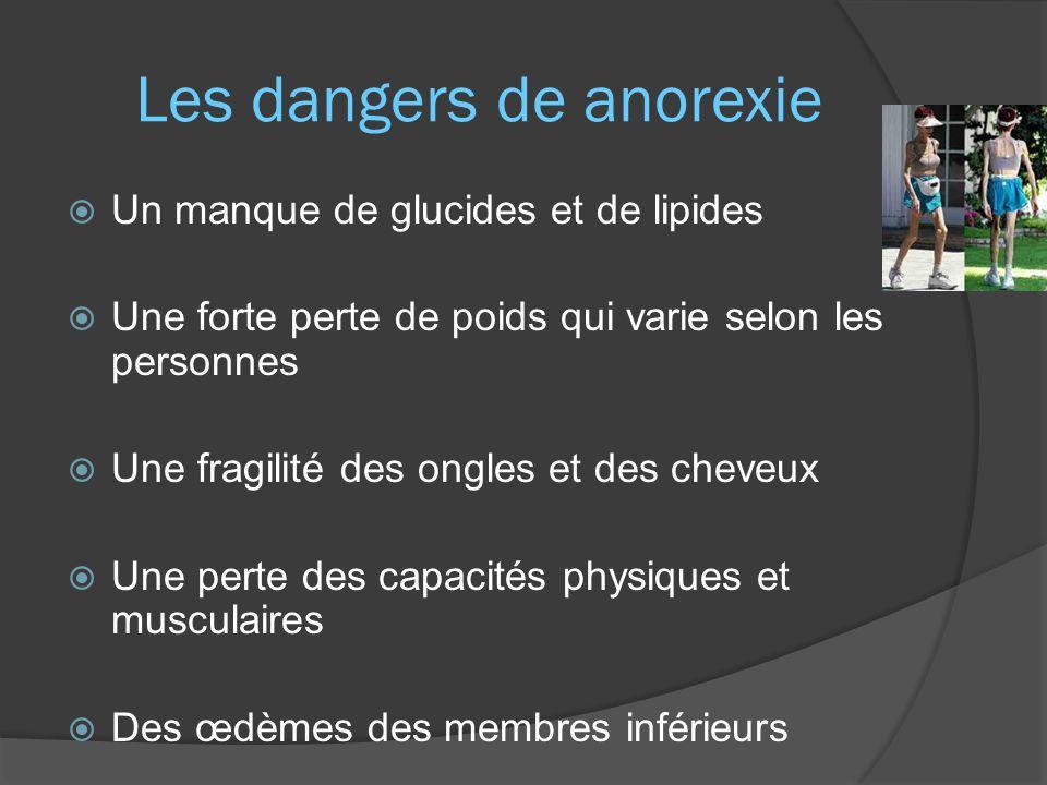 Les dangers de anorexie  Un manque de glucides et de lipides  Une forte perte de poids qui varie selon les personnes  Une fragilité des ongles et des cheveux  Une perte des capacités physiques et musculaires  Des œdèmes des membres inférieurs