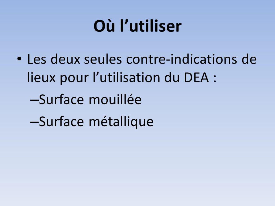 Où l'utiliser • Les deux seules contre-indications de lieux pour l'utilisation du DEA : – Surface mouillée – Surface métallique