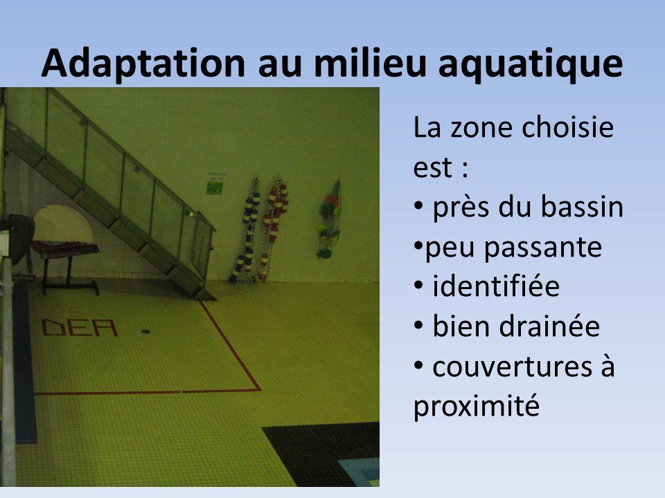 Adaptation au milieu aquatique La zone choisie est : • près du bassin • peu passante • identifiée • bien drainée • couvertures à proximité