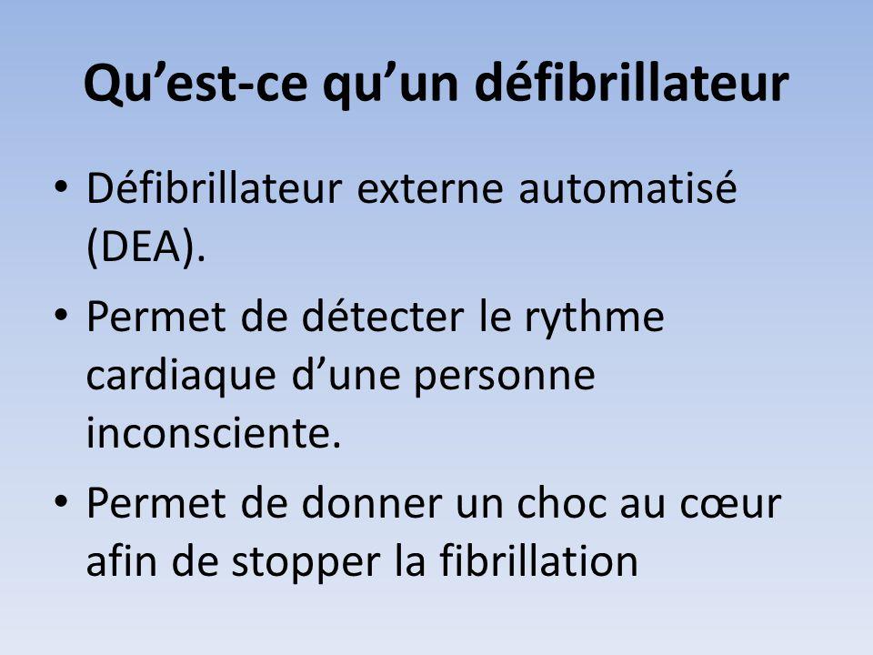 Qu'est-ce qu'un défibrillateur • Défibrillateur externe automatisé (DEA). • Permet de détecter le rythme cardiaque d'une personne inconsciente. • Perm