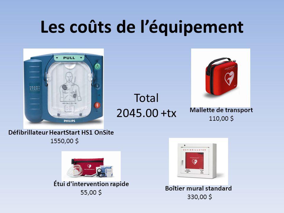 Les coûts de l'équipement Défibrillateur HeartStart HS1 OnSite 1550,00 $ Boîtier mural standard 330,00 $ Étui d'intervention rapide 55,00 $ Mallette d