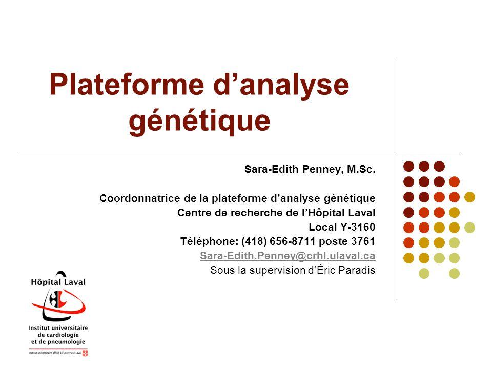 Appareillage de la plateforme d'analyse génétique Station de séquençage d'ADN CEQ-8000 (Beckman-Coulter) Spécifications techniques : - Huit (8) capillaires - Un système d'électrophorèse - 2 lasers - Une caméra CCD - Utilisation de la méthode de Sanger (dNTP terminator) (Sanger et al., 1977) Utilisation : - Séquençage d'ADN (plasmides et produits PCR) -Analyse de fragments, génotypage.