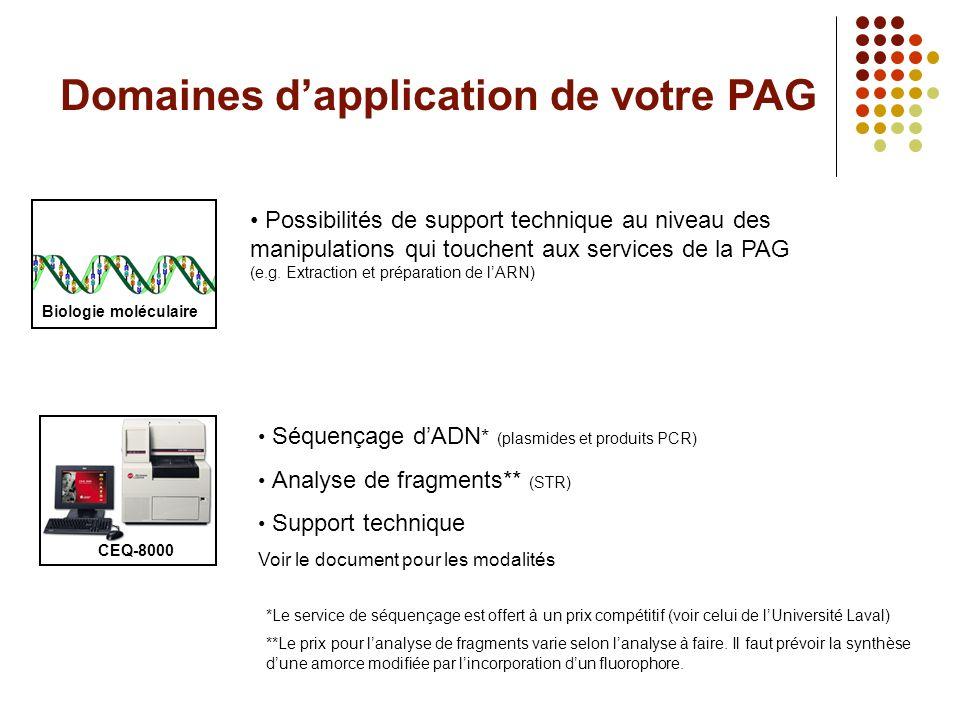 Domaines d'application de votre PAG CEQ-8000 • Séquençage d'ADN * (plasmides et produits PCR) • Analyse de fragments** (STR) • Support technique Voir