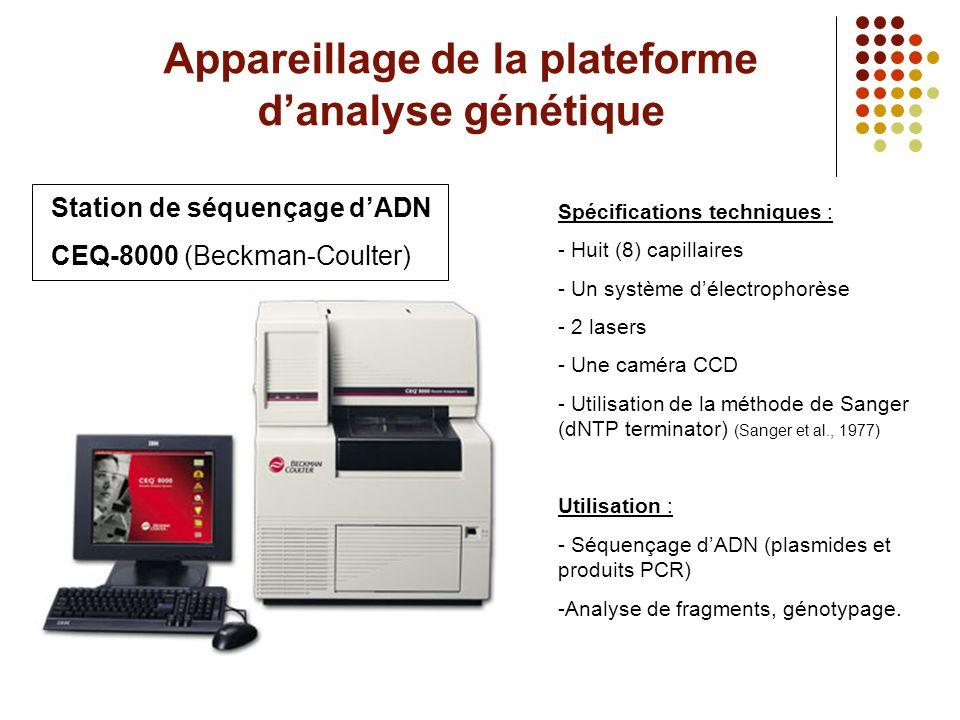 Appareillage de la plateforme d'analyse génétique Station de séquençage d'ADN CEQ-8000 (Beckman-Coulter) Spécifications techniques : - Huit (8) capill