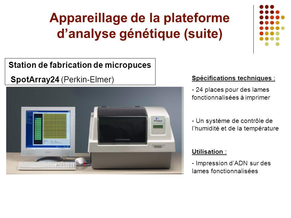 Appareillage de la plateforme d'analyse génétique (suite) Station de fabrication de micropuces SpotArray24 (Perkin-Elmer) Spécifications techniques :