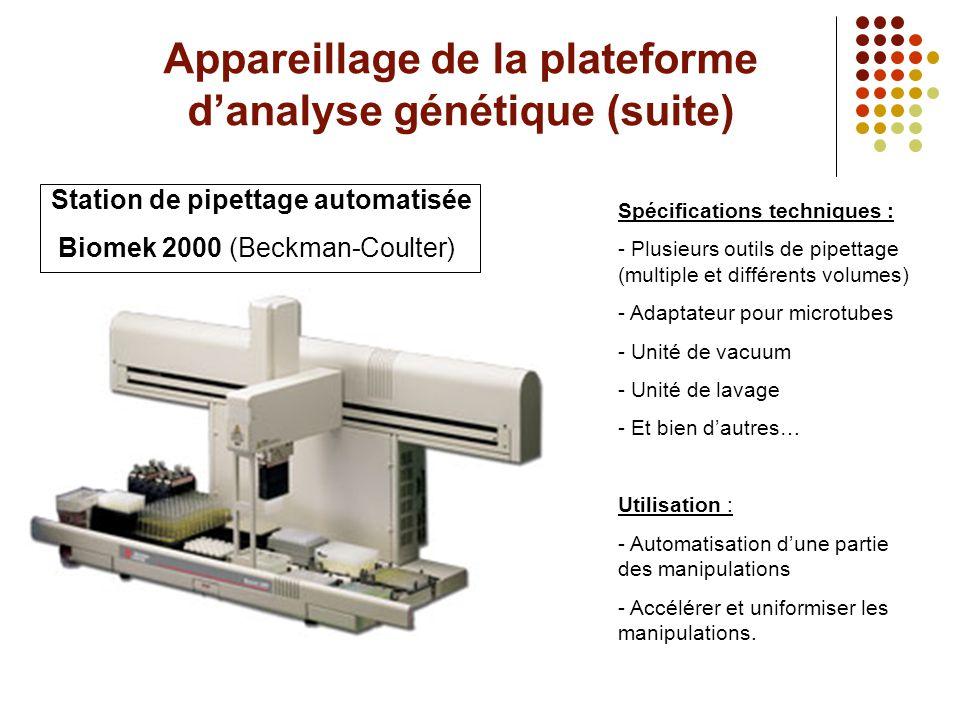 Appareillage de la plateforme d'analyse génétique (suite) Station de pipettage automatisée Biomek 2000 (Beckman-Coulter) Spécifications techniques : -