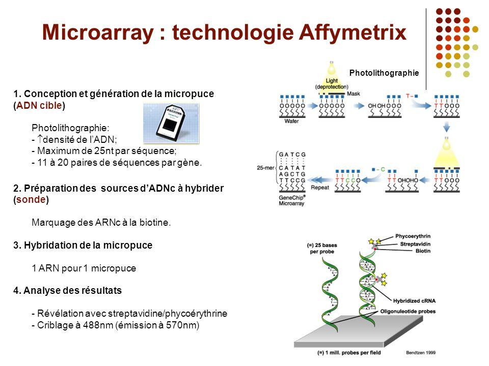 Microarray : technologie Affymetrix 1. Conception et génération de la micropuce (ADN cible) Photolithographie: -  densité de l'ADN; - Maximum de 25nt