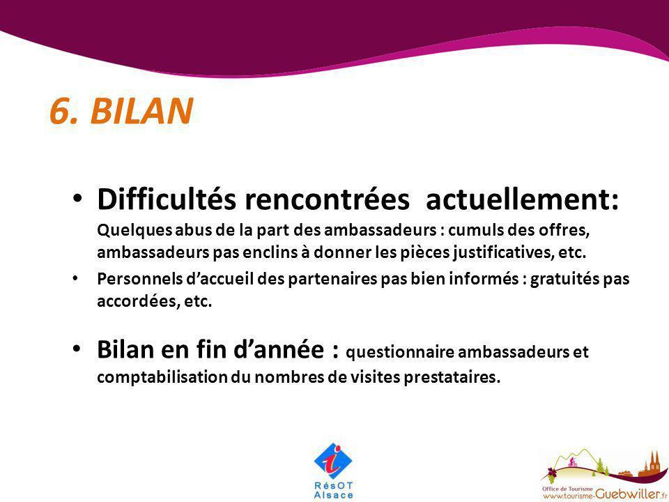 6. BILAN • Difficultés rencontrées actuellement: Quelques abus de la part des ambassadeurs : cumuls des offres, ambassadeurs pas enclins à donner les