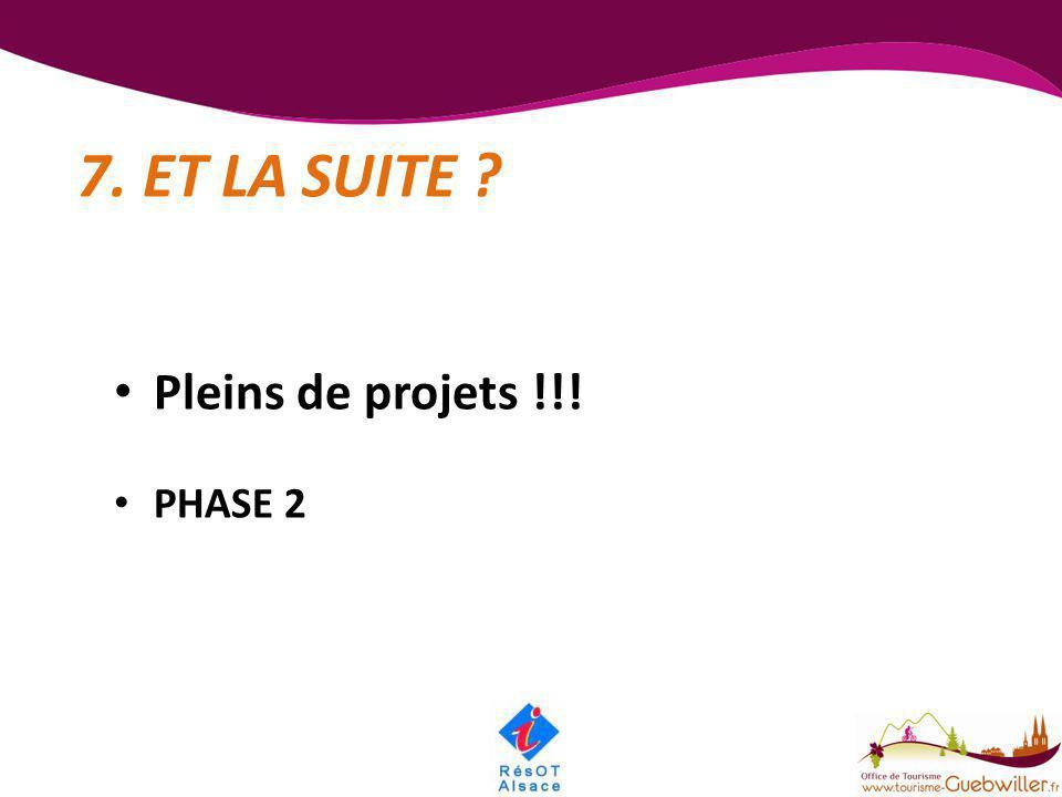 7. ET LA SUITE ? • Pleins de projets !!! • PHASE 2
