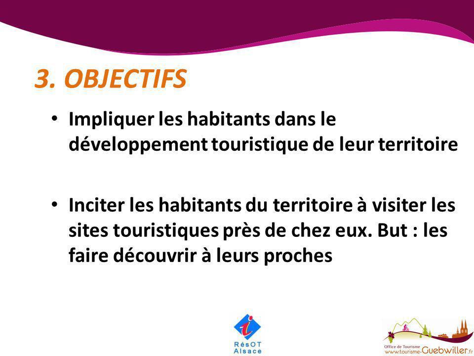 3. OBJECTIFS • Impliquer les habitants dans le développement touristique de leur territoire • Inciter les habitants du territoire à visiter les sites