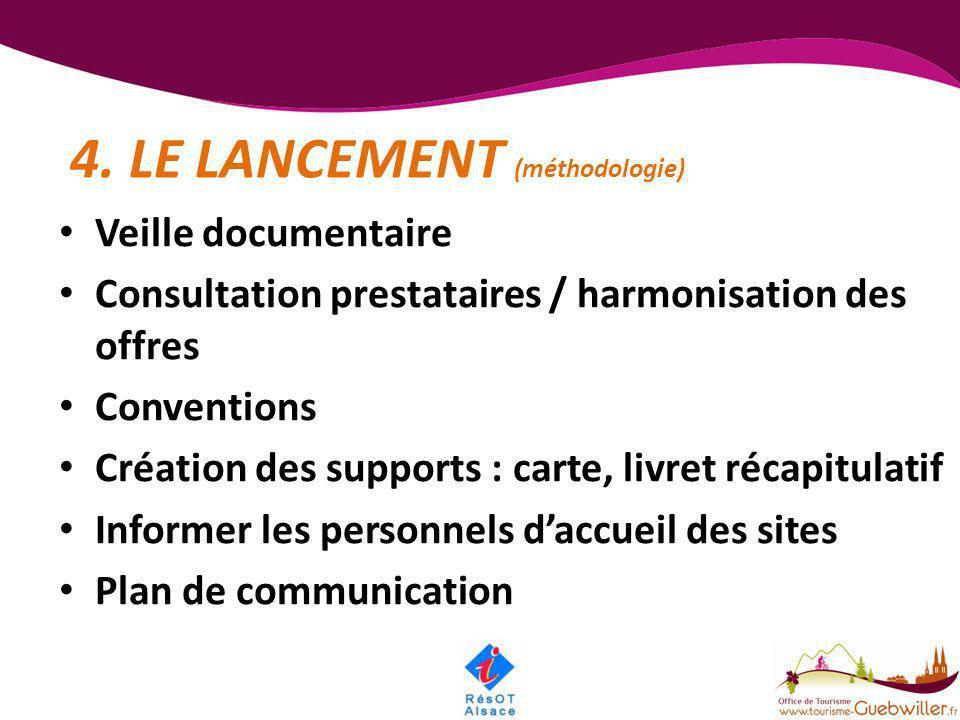 4. LE LANCEMENT (méthodologie) • Veille documentaire • Consultation prestataires / harmonisation des offres • Conventions • Création des supports : ca