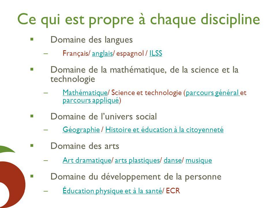 Ce qui est propre à chaque discipline  Domaine des langues – Français/ anglais/ espagnol / ILSSanglaisILSS  Domaine de la mathématique, de la scienc