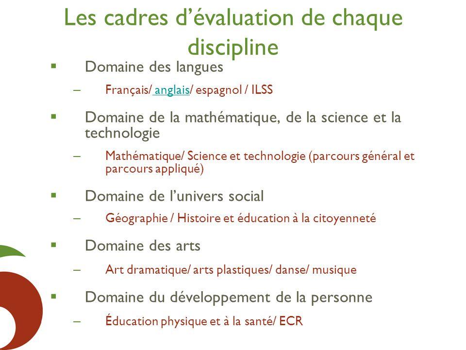 Les cadres d'évaluation de chaque discipline  Domaine des langues – Français/ anglais/ espagnol / ILSS anglais  Domaine de la mathématique, de la sc