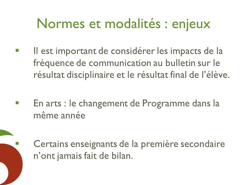 Normes et modalités : enjeux  Il est important de considérer les impacts de la fréquence de communication au bulletin sur le résultat disciplinaire et le résultat final de l'élève.