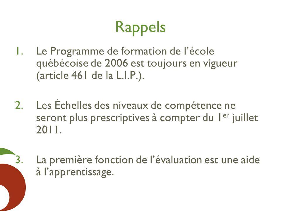 Rappels 1.Le Programme de formation de l'école québécoise de 2006 est toujours en vigueur (article 461 de la L.I.P.). 2.Les Échelles des niveaux de co