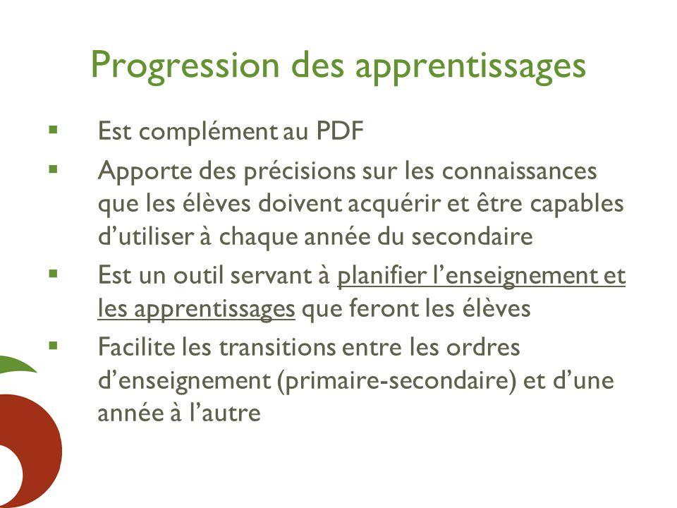 Progression des apprentissages  Est complément au PDF  Apporte des précisions sur les connaissances que les élèves doivent acquérir et être capables