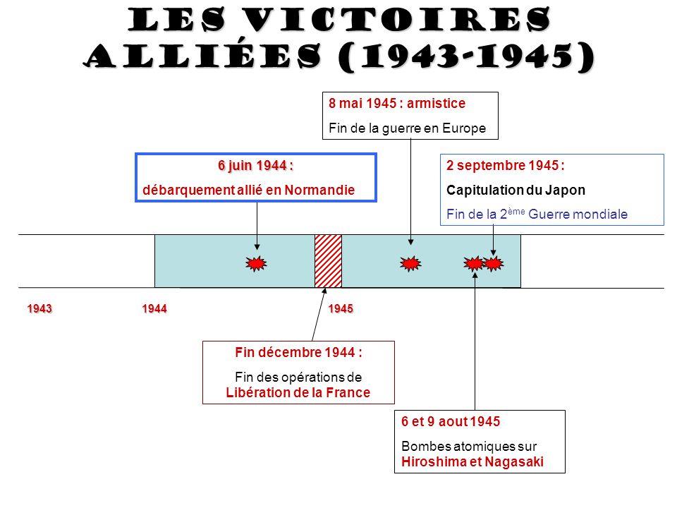 194319441945 6 juin 1944 : 6 juin 1944 : débarquement allié en Normandie Fin décembre 1944 : Fin des opérations de Libération de la France 8 mai 1945