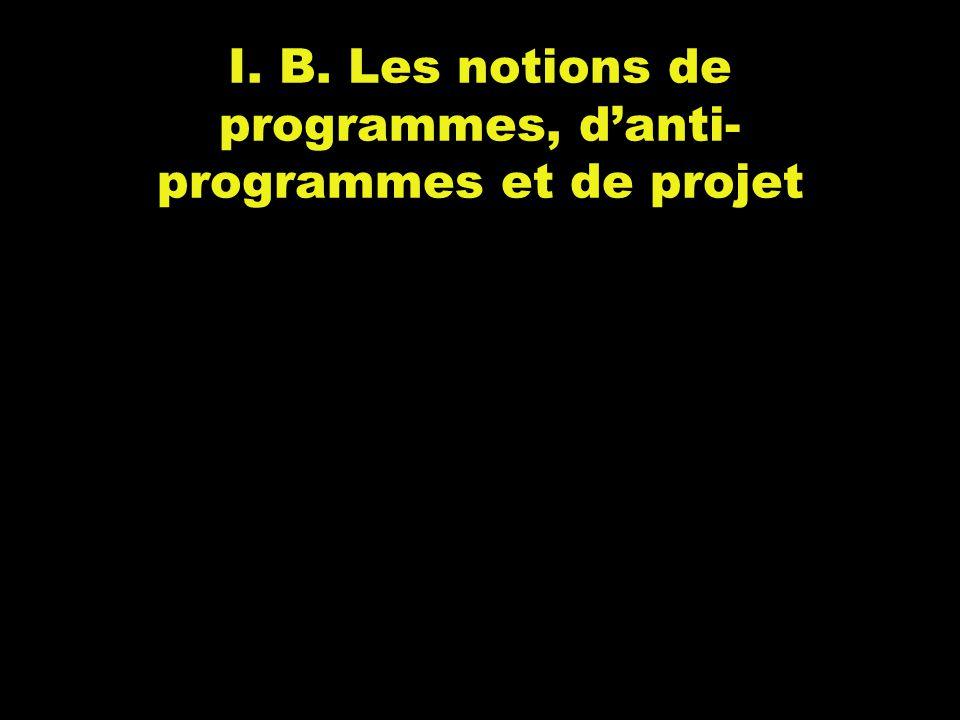 I. B. Les notions de programmes, d'anti- programmes et de projet
