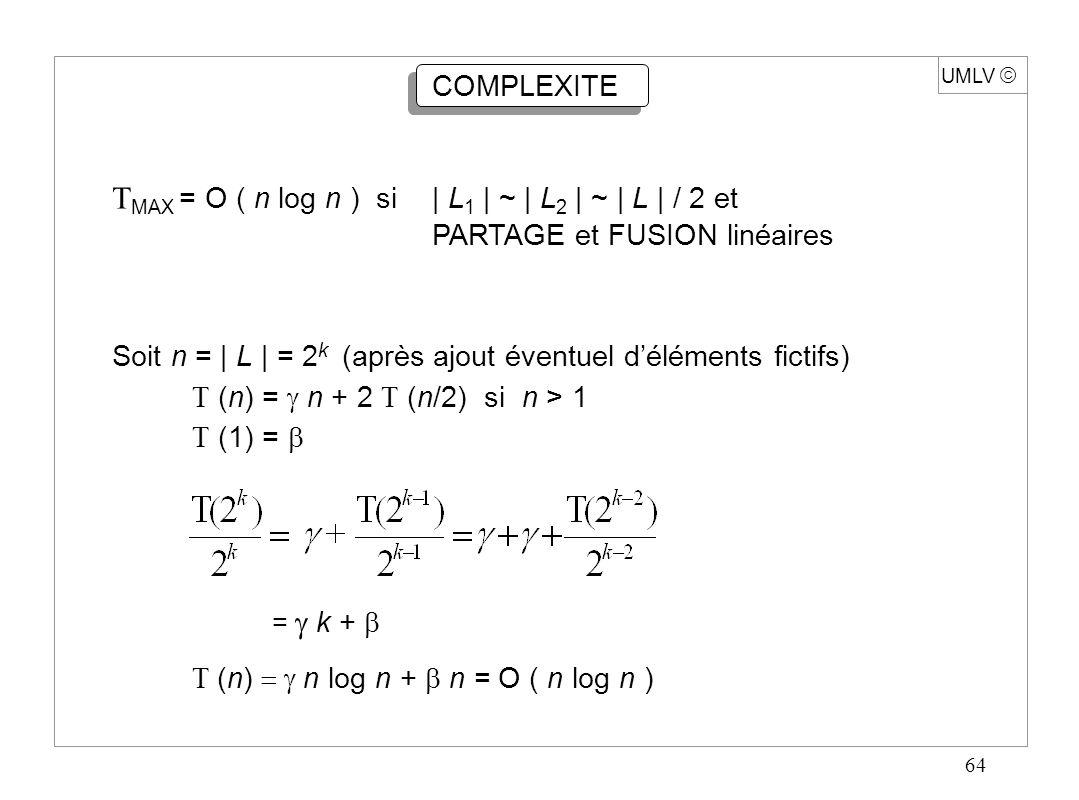 64 UMLV  COMPLEXITE  MAX = O ( n log n ) si| L 1 | ~ | L 2 | ~ | L | / 2 et PARTAGE et FUSION linéaires Soit n = | L | = 2 k (après ajout éventuel d