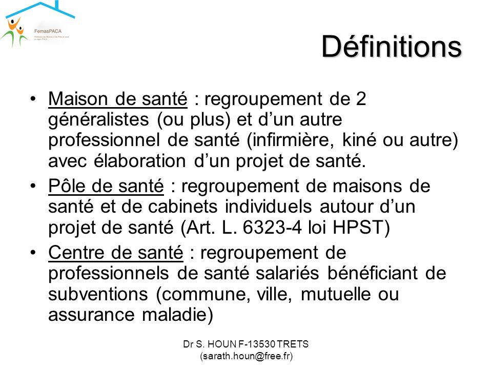 Dr S. HOUN F-13530 TRETS (sarath.houn@free.fr) Définitions •Maison de santé : regroupement de 2 généralistes (ou plus) et d'un autre professionnel de