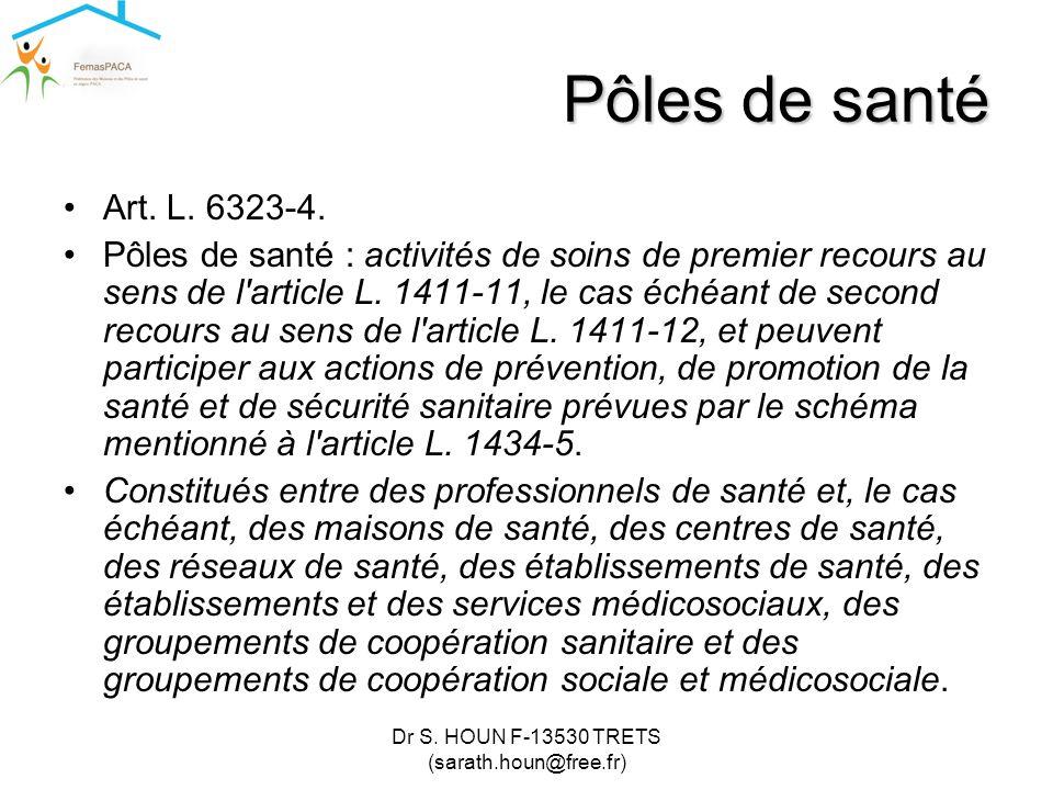 Dr S. HOUN F-13530 TRETS (sarath.houn@free.fr) Pôles de santé •Art. L. 6323-4. •Pôles de santé : activités de soins de premier recours au sens de l'ar
