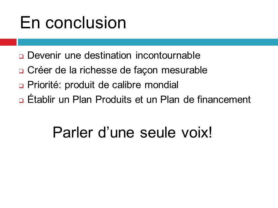 En conclusion  Devenir une destination incontournable  Créer de la richesse de façon mesurable  Priorité: produit de calibre mondial  Établir un Plan Produits et un Plan de financement Parler d'une seule voix!