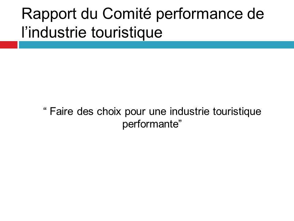 Faire des choix pour une industrie touristique performante Rapport du Comité performance de l'industrie touristique