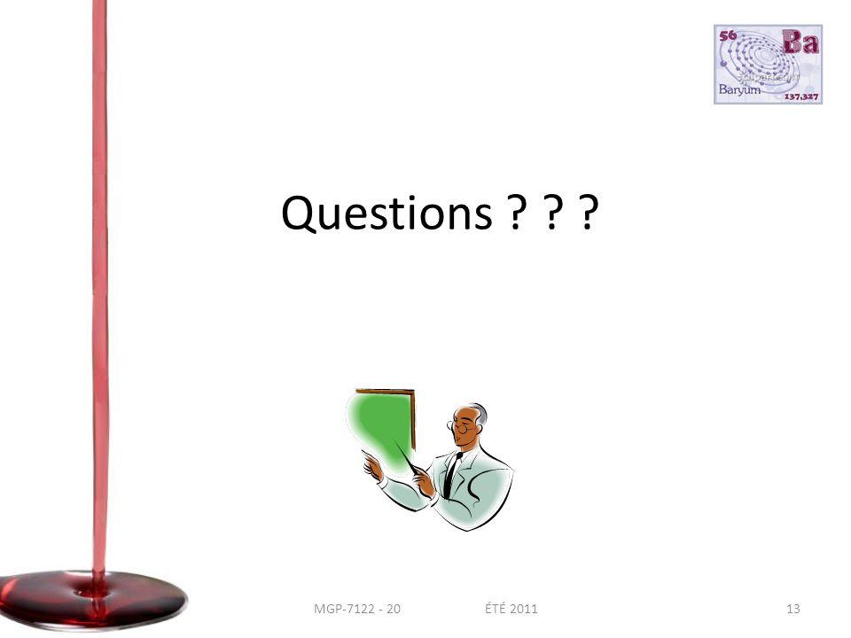 Questions 13MGP-7122 - 20 ÉTÉ 2011