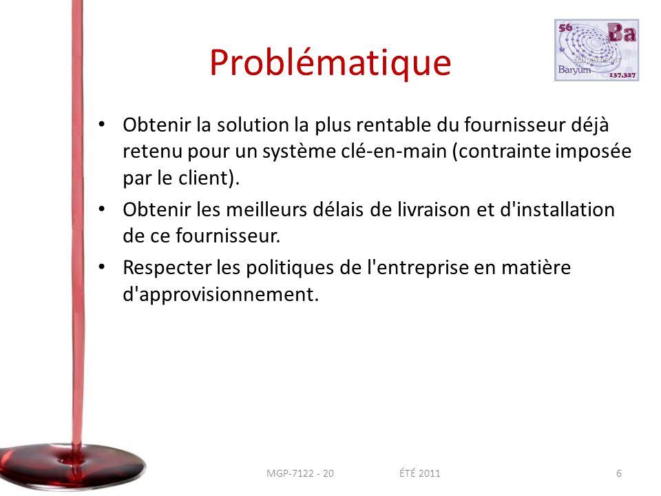 Problématique • Obtenir la solution la plus rentable du fournisseur déjà retenu pour un système clé-en-main (contrainte imposée par le client).