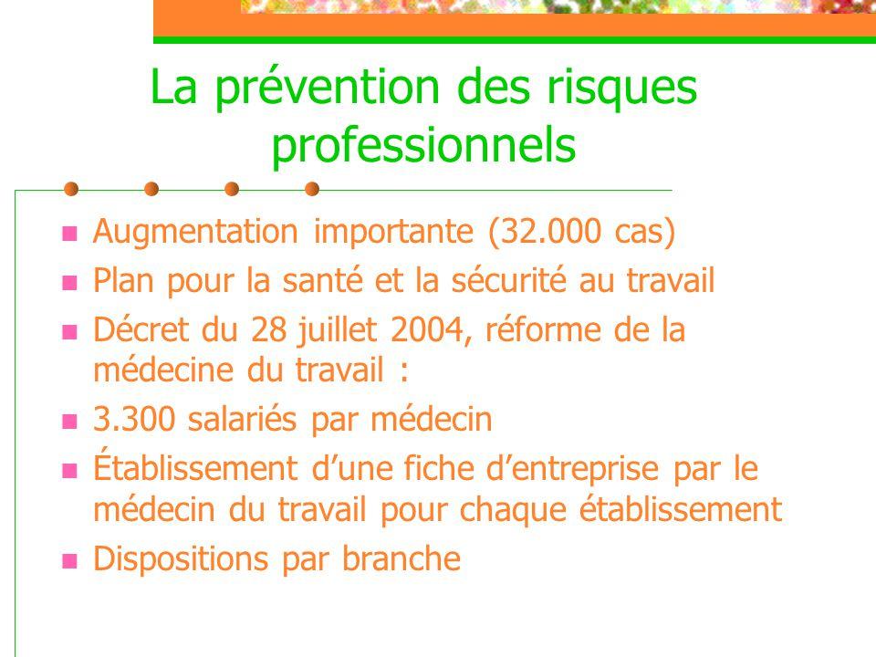 La prévention des risques professionnels  Augmentation importante (32.000 cas)  Plan pour la santé et la sécurité au travail  Décret du 28 juillet