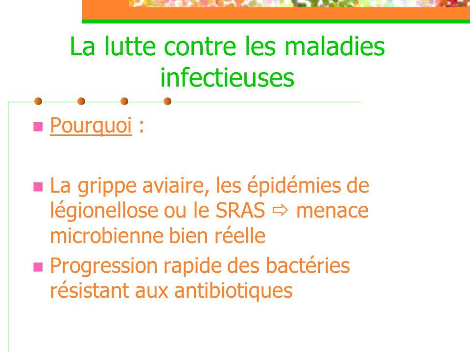 La lutte contre les maladies infectieuses  Pourquoi :  La grippe aviaire, les épidémies de légionellose ou le SRAS  menace microbienne bien réelle
