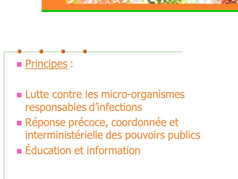  Principes :  Lutte contre les micro-organismes responsables d'infections  Réponse précoce, coordonnée et interministérielle des pouvoirs publics 
