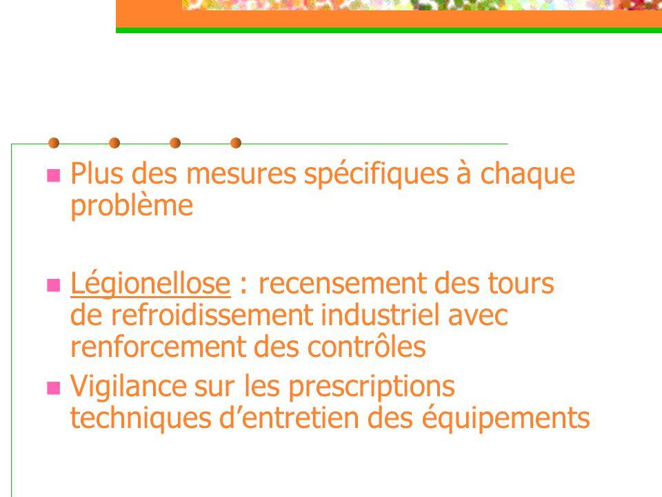  Plus des mesures spécifiques à chaque problème  Légionellose : recensement des tours de refroidissement industriel avec renforcement des contrôles