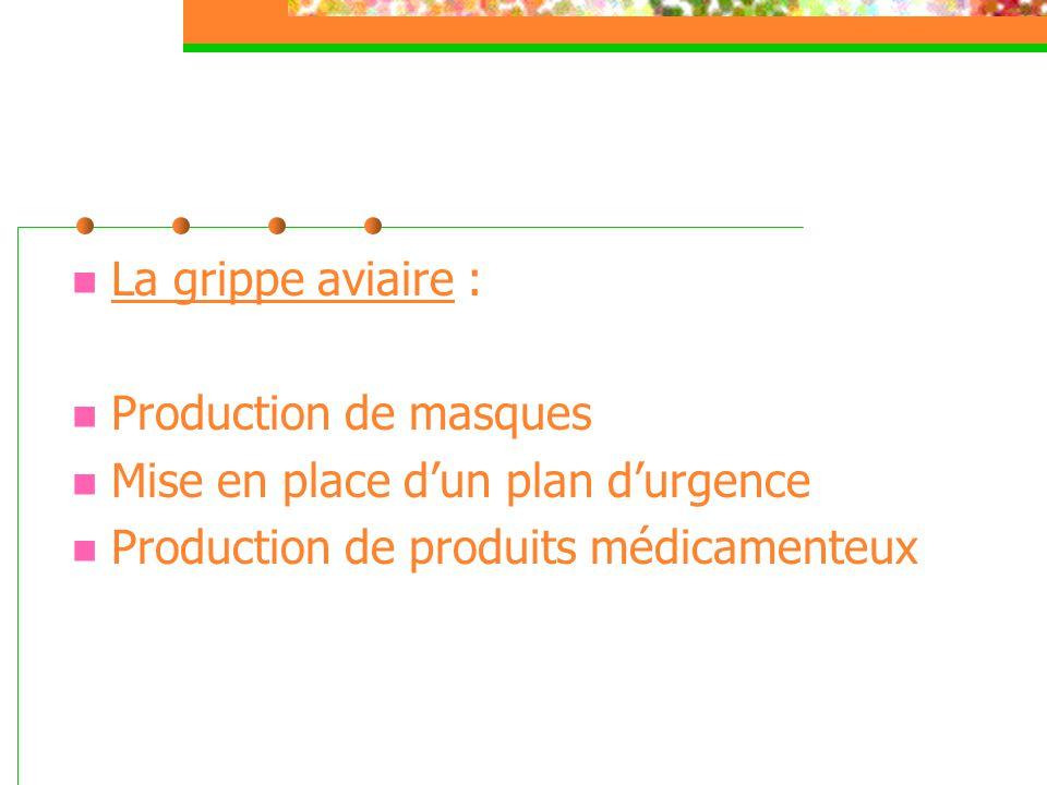  La grippe aviaire :  Production de masques  Mise en place d'un plan d'urgence  Production de produits médicamenteux